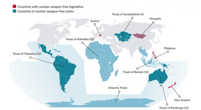 An overview of existing Nuclear Weapon-Free Zones and countries with national nuclear prohibition legislation