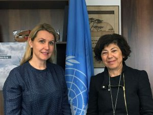 Above: WFC Director Alexandra Wandel (left) with Monique Barbut, Executive Secretary at UNCCD.