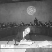 Alfonso García Robles signing the Treaty of Tlatelolco on behalf of Mexico 14 February 1967, Mexico City