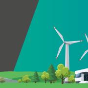 Förderung erneuerbaren Energien: Windmühlen neben einer Fabrik