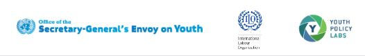 Logo: Secretary-General's Envoy on Youth; International Labour Organization and Youth Policy Labs