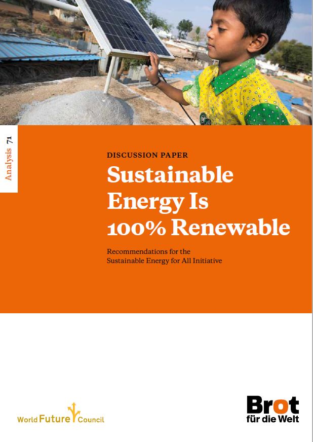 Cover der Broschüre: Sustainable Energy is 100% RE