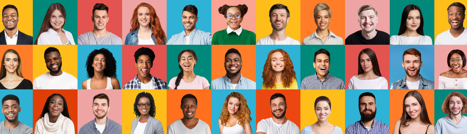 many young people with colours